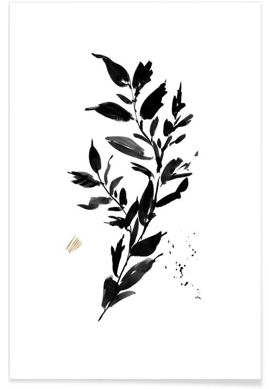 Noir & blanc, Feuilles & Plantes, Loose Leaves affiche