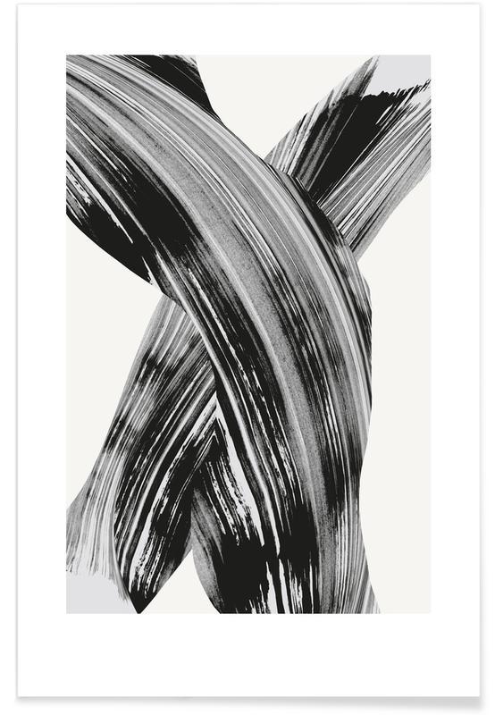 Black & White, Black And White Brush Strokes Poster