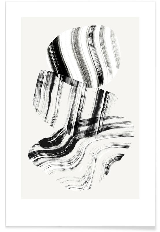 Black & White, Negative Painting On Glass Poster