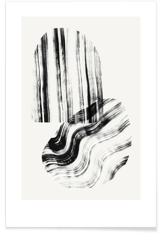 Schwarz & Weiß, Negative Brush Strokes -Poster