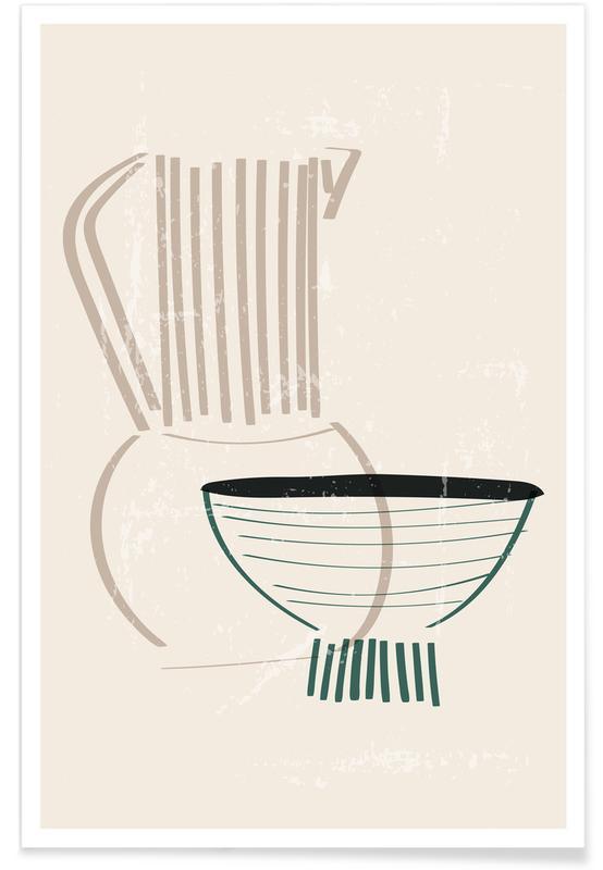 , Clay Vase & Bowl -Poster