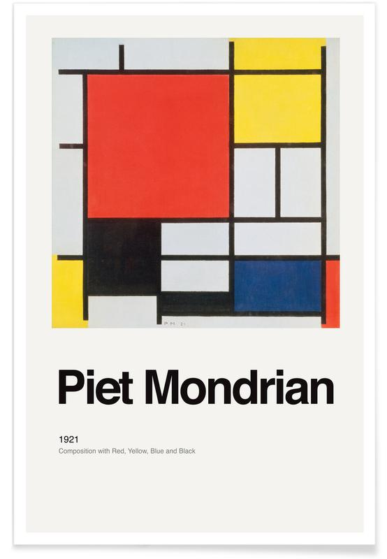 Piet Mondrian, Mondrian - Composition with Red, Yellow, Blue and Black -Poster