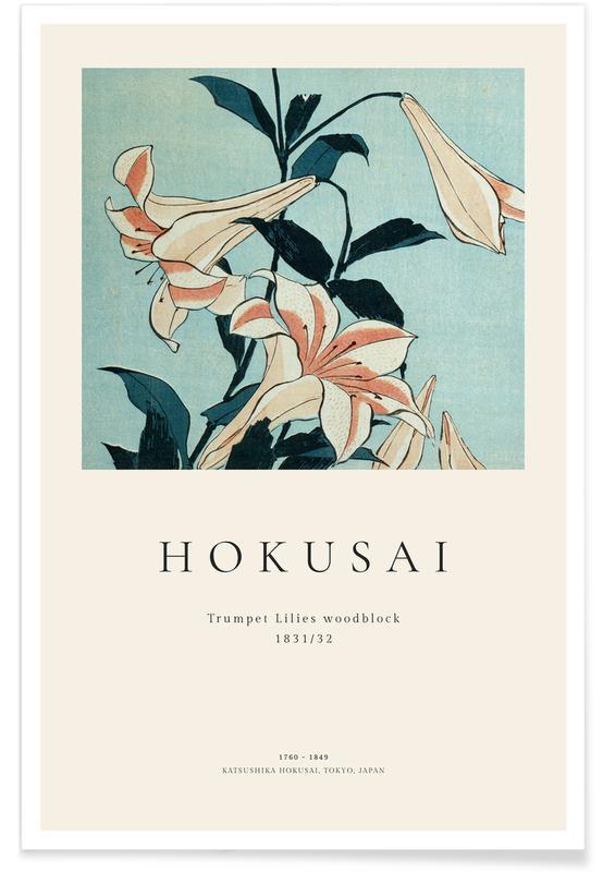 Katsushika Hokusai, Hokusai - Trumpet Lilies affiche