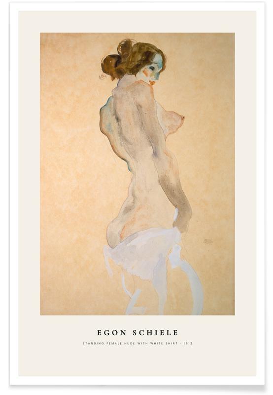 Egon Schiele, Portraits, Schiele - Standing Female Nude with White Shirt affiche