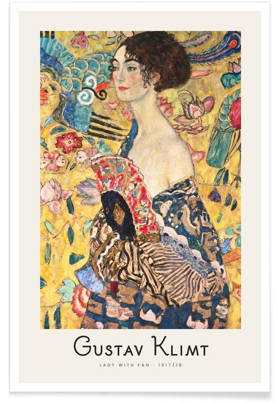 Portraits, Gustav Klimt, Klimt - Lady with Fan affiche
