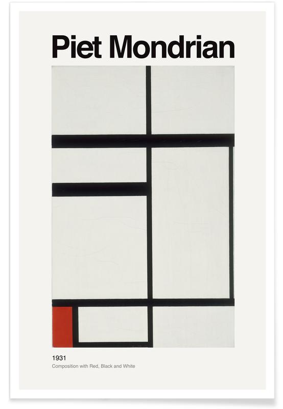 Piet Mondrian, Mondrian - Composition with Red, Black and White -Poster