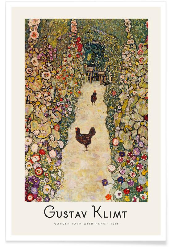 Gustav Klimt, Klimt - Garden Path with Hens Poster