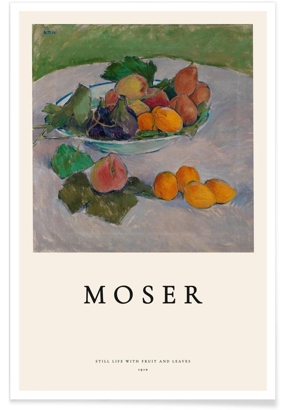 Koloman Moser, Océans, mers & lacs, Moser - Still Life with Fruit and Leaves affiche