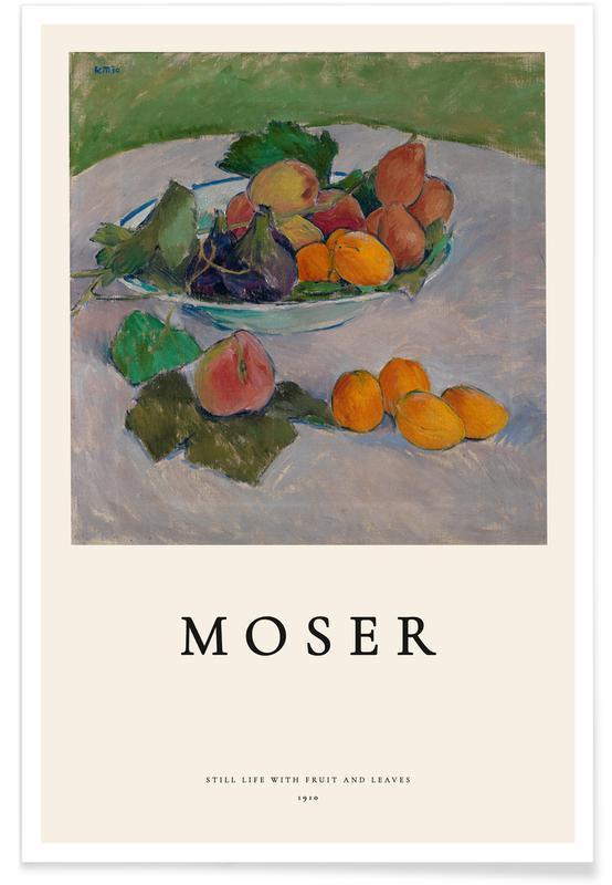 Oceanen, zeeën en meren, Koloman Moser, Moser - Still Life with Fruit and Leaves poster