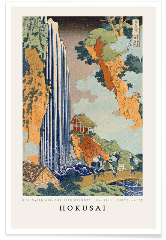 Katsushika Hokusai, Océans, mers & lacs, Hokusai - Ono Waterfall, the Kiso Highway affiche