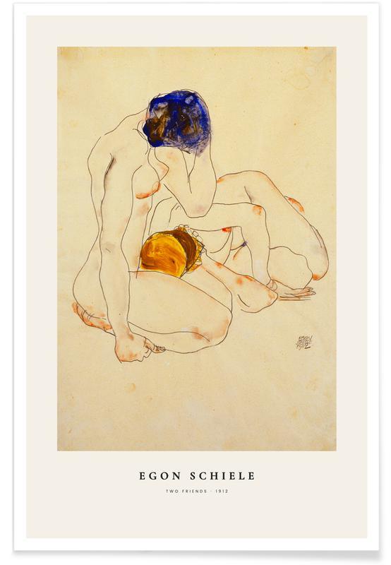 Egon Schiele, Portraits, Nus, Schiele - Two Friends affiche