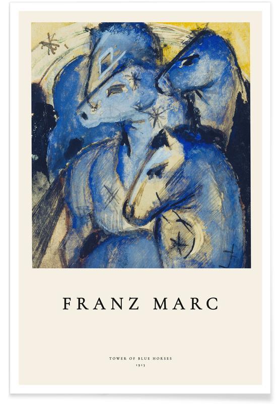 Franz Marc, Chevaux, Franz Marc - Tower of Blue Horses affiche