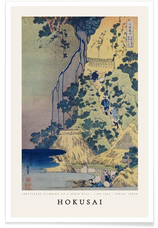 Katsushika Hokusai, Mountains, Hokusai - Travellers Climbing up a Steep Hill Poster