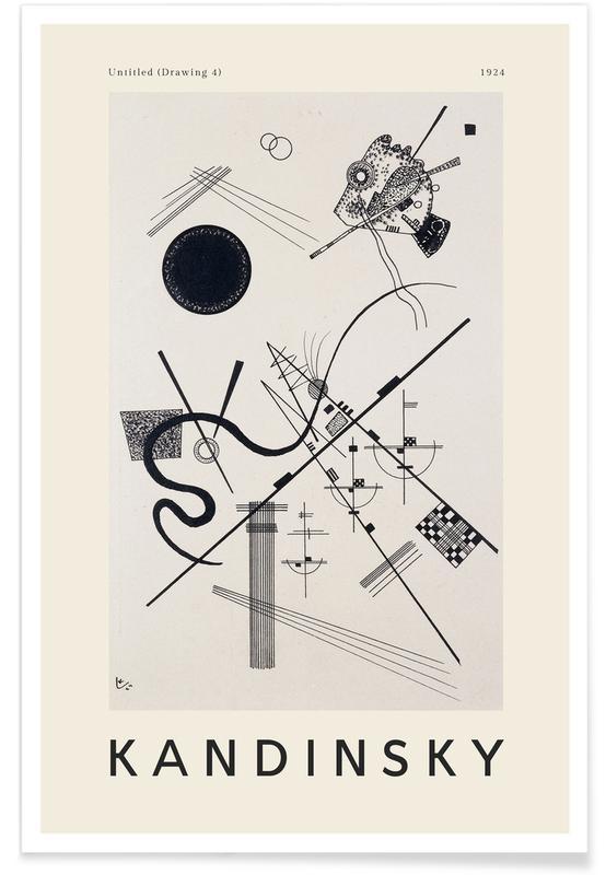 Noir & blanc, Wassily Kandinsky, Kandinsky - Untitled (Drawing 4) affiche