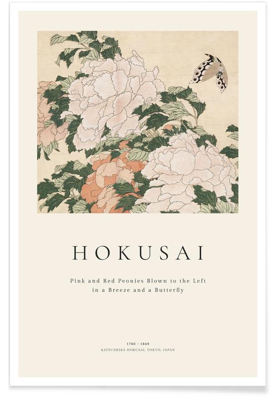 Katsushika Hokusai, Hokusai - Pink and Red Peonies Blown to the Left in a Breeze and a Butterfly Poster