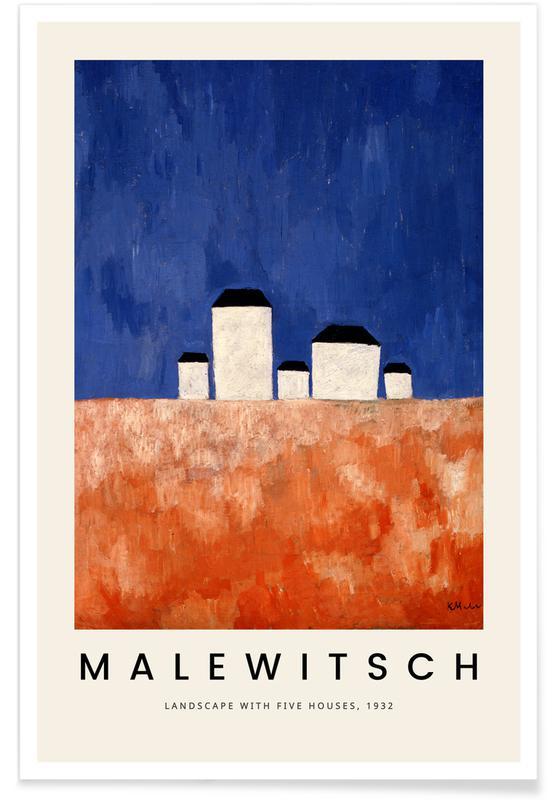 Kasimir Malewitsch, Malewitsch - Landscape with Five Houses affiche