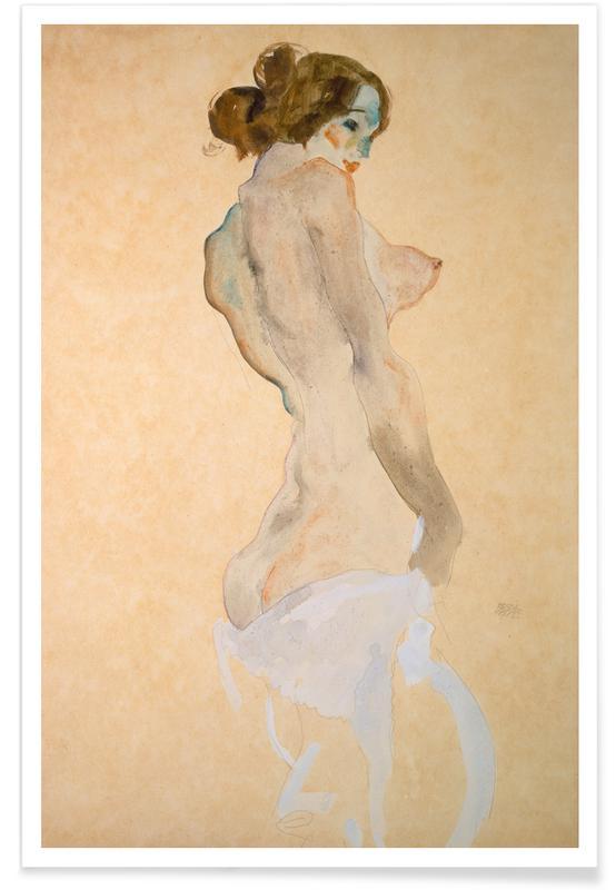 Egon Schiele, Détails corporels, Nus, Schiele - Standing Female Nude with White Shirt affiche