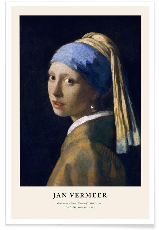 Jan Vermeer van Delft, Portraits, Jan Vermeer van Delft - Girl with a Pearl Earring affiche