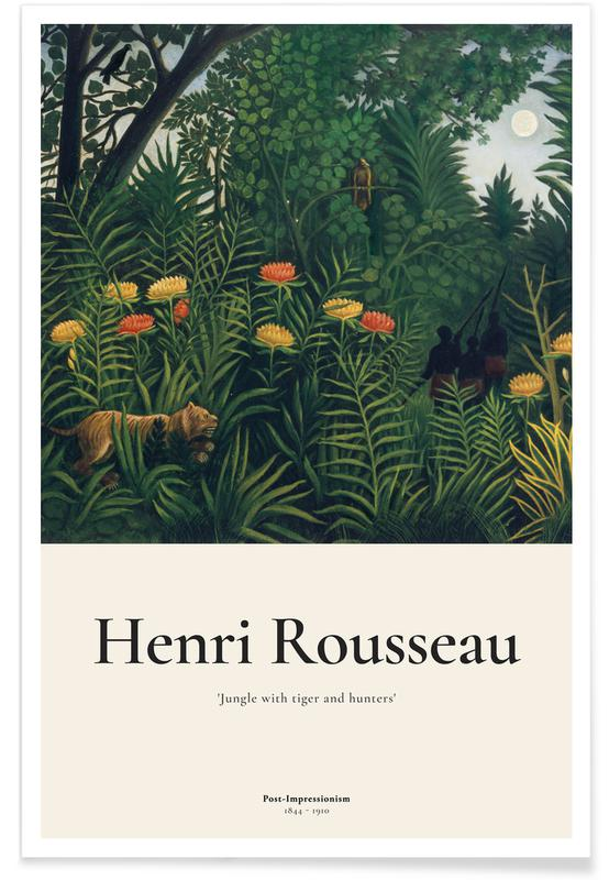 Henri Rousseau, Rousseau - Jungle with Tigers and Hunters affiche