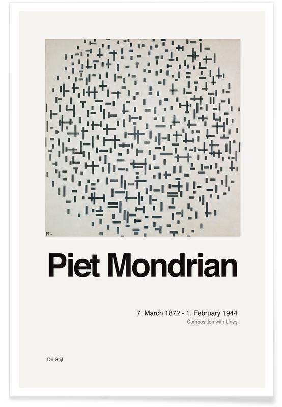 Piet Mondrian, Mondrian - Composition with Lines affiche