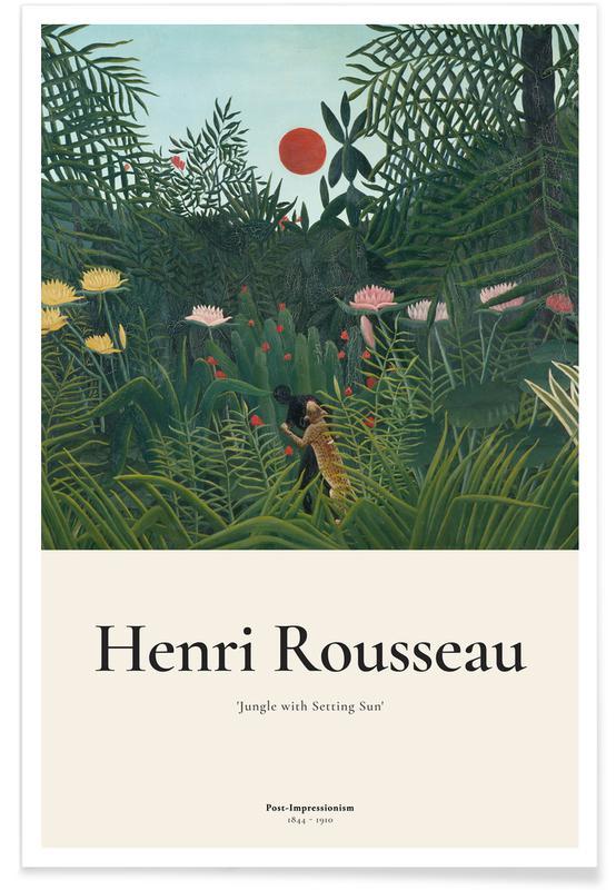 Henri Rousseau, Rousseau - Jungle with Setting Sun -Poster
