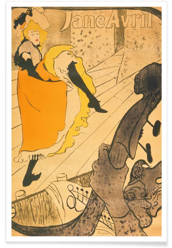 Portraits, Henri de Toulouse-Lautrec, Henri de Toulouse-Lautrec - Lithograph Jane Avril affiche