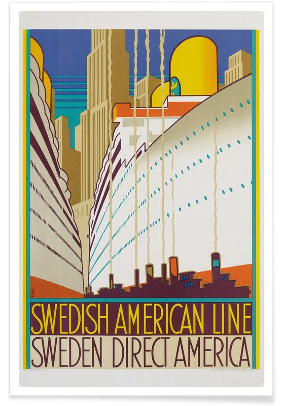Reise, Henri Rousseau, Monogrammed HR-Swedish American Line (Printed by Ronald Massey, London) -Poster