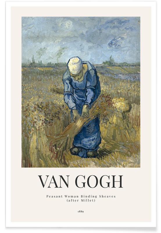 Porträts, Vincent Van Gogh, van Gogh - Peasant Woman Binding Sheaves (after Millet) -Poster