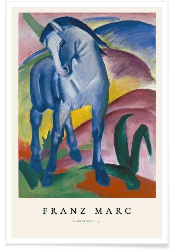 Franz Marc, Chevaux, Franz Marc-Blaues Pferd I affiche