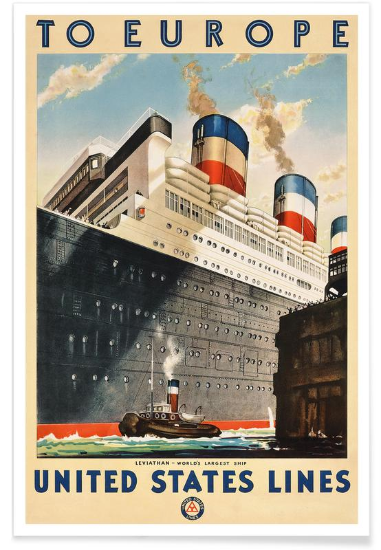 Voyages, To Europe - United States Lines affiche