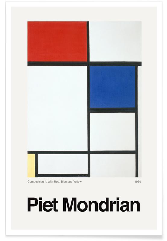 Piet Mondrian, Mondrian - Composition II, with Red, Blue and Yellow affiche