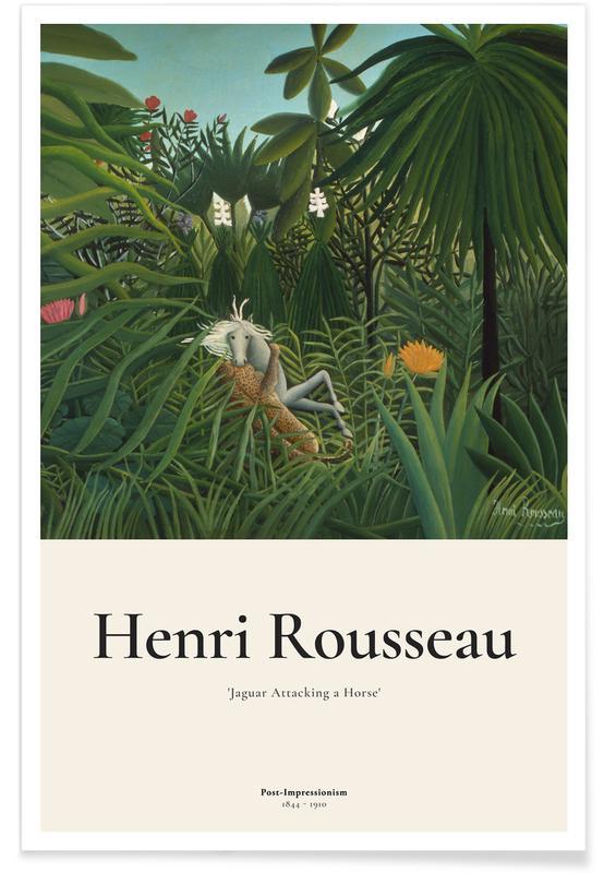 Henri Rousseau, Rousseau - Jaguar Attacking a Horse affiche