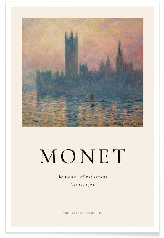 Océans, mers & lacs, Claude Monet, Monet - The Houses of Parliament, Sunset affiche