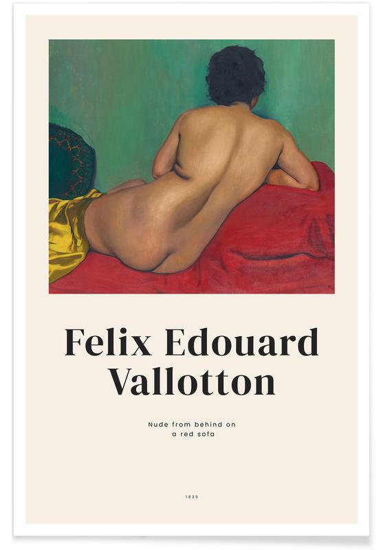Naakt, Portretten, Félix Vallotton, Vallotton - Nude from Behind on a Red Sofa poster
