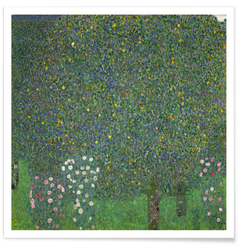 Rozen, Bossen, Gustav Klimt, Bomen, Klimt - Rose Bushes under Trees poster