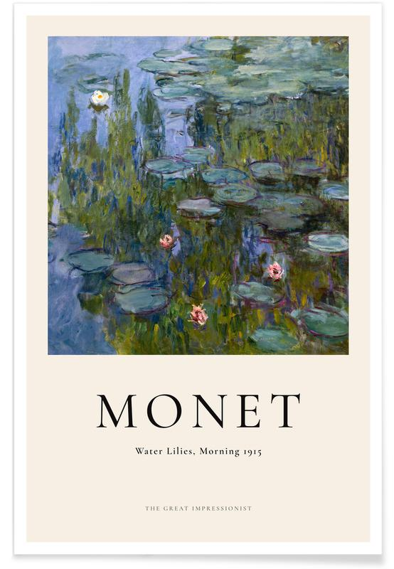 Claude Monet, Monet - Water Lilies, Morning affiche