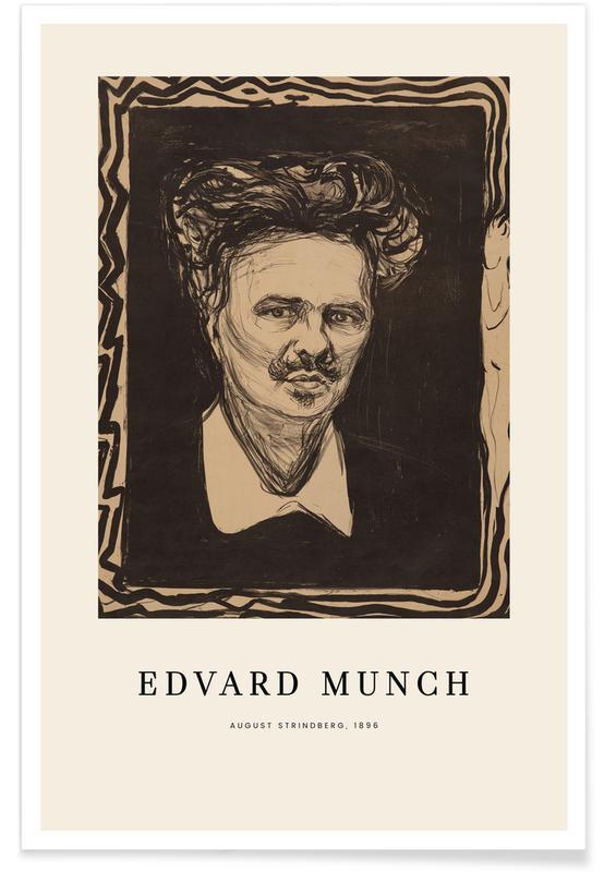 Edvard Munch, Portraits, Munch - August Strindberg affiche