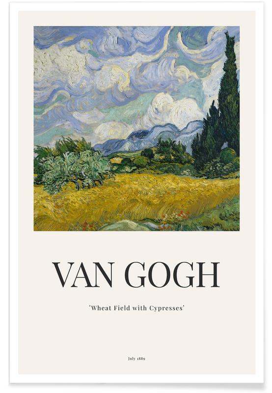 Vincent Van Gogh, van Gogh - Wheat Field with Cypresses affiche