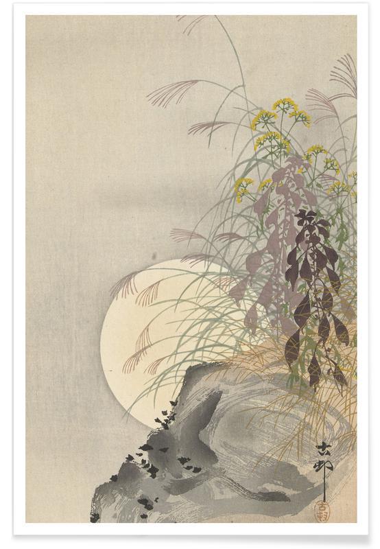 Ohara Shôson, Shôson - Grasses at Full Moon affiche
