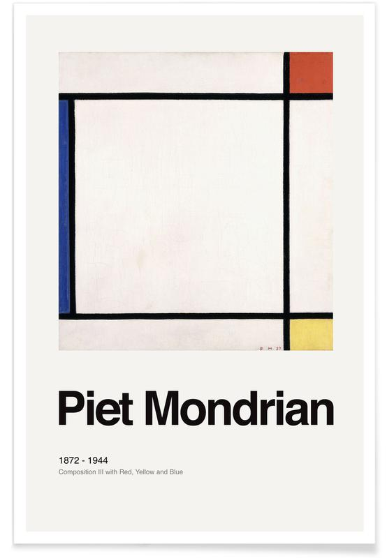 Piet Mondrian, Mondrian - Composition III with Red, Yellow and Blue -Poster
