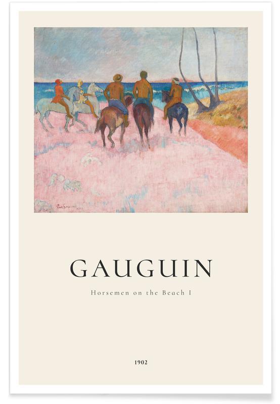 Chevaux, Paul Gauguin, Gauguin - Horsemen on the Beach I affiche