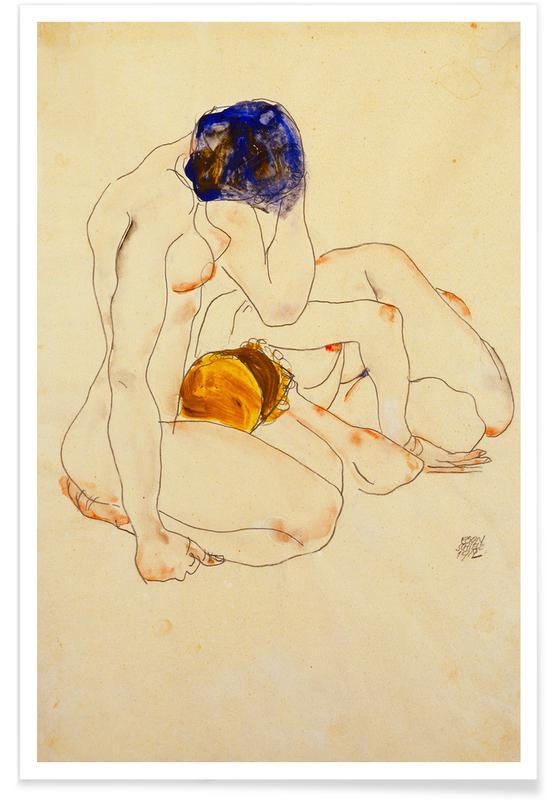 Egon Schiele, Couples, Détails corporels, Nus, Schiele - Two Friends affiche
