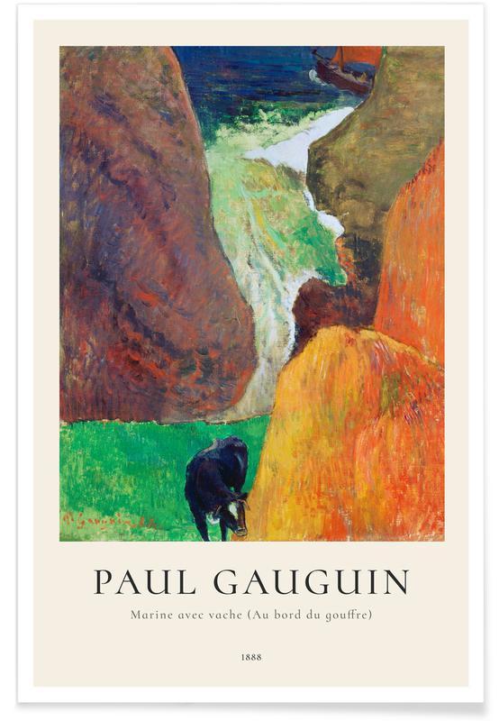 Paysages abstraits, Paul Gauguin, Gauguin - Marine avec vache (Au bord du gouffre) affiche