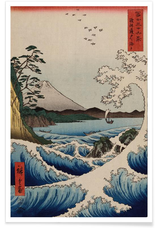 Japanese Inspired, Hiroshige - The Sea at Satta in Suruga Province Poster