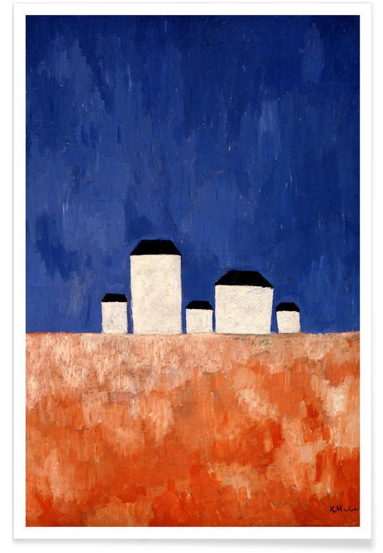 Kasimir Malewitsch, Abstrakte Landschaften, Malewitsch - Landscape with Five Houses -Poster
