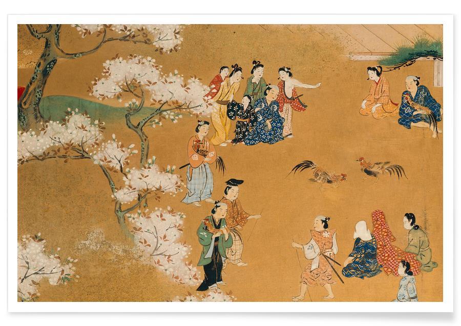 Japanisch inspiriert, A Cock Fight Beneath Cherry Tree Blossoms -Poster