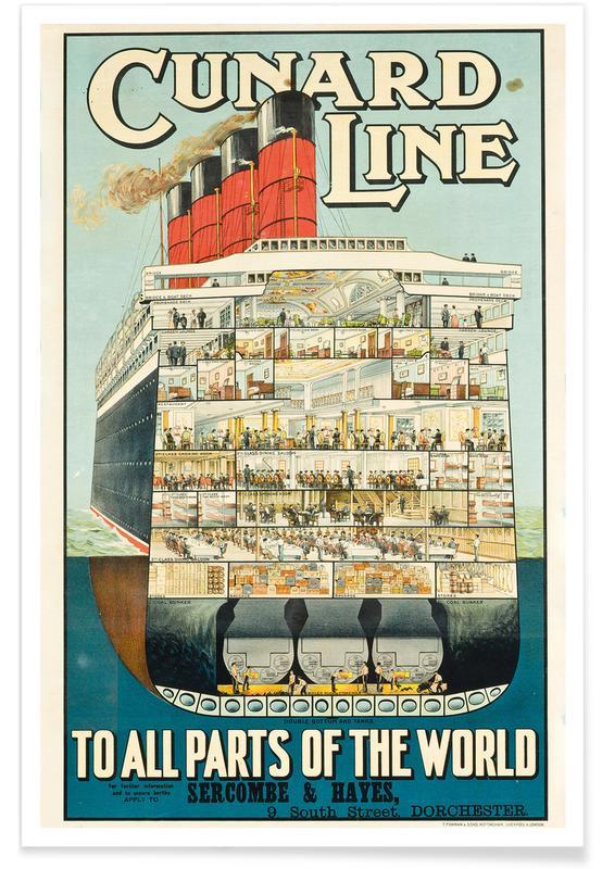 Vintage Reise, Advertising Poster for Cunard Line -Poster