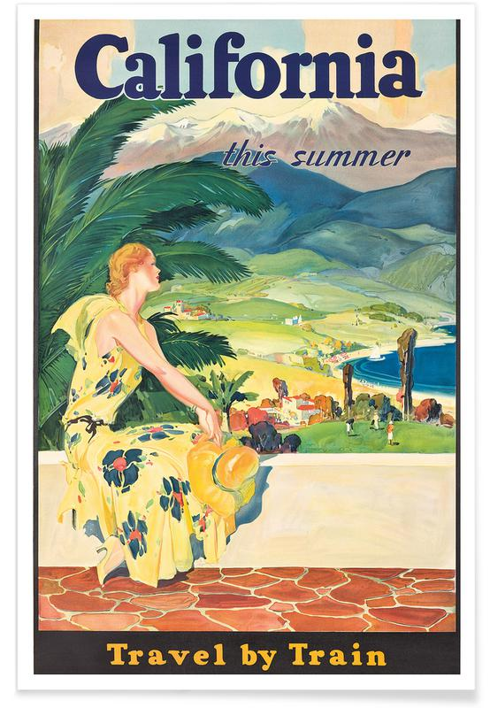 Vintage Travel, California - Travel by Train Poster