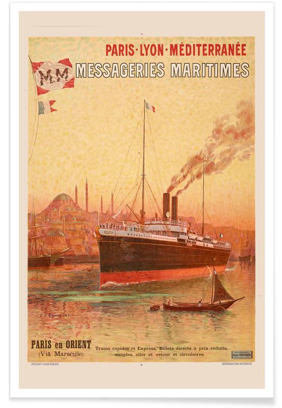 Vintage voyage, d'Alesi - Paris-Lyon-Méditerranée Messageries Maritimes affiche