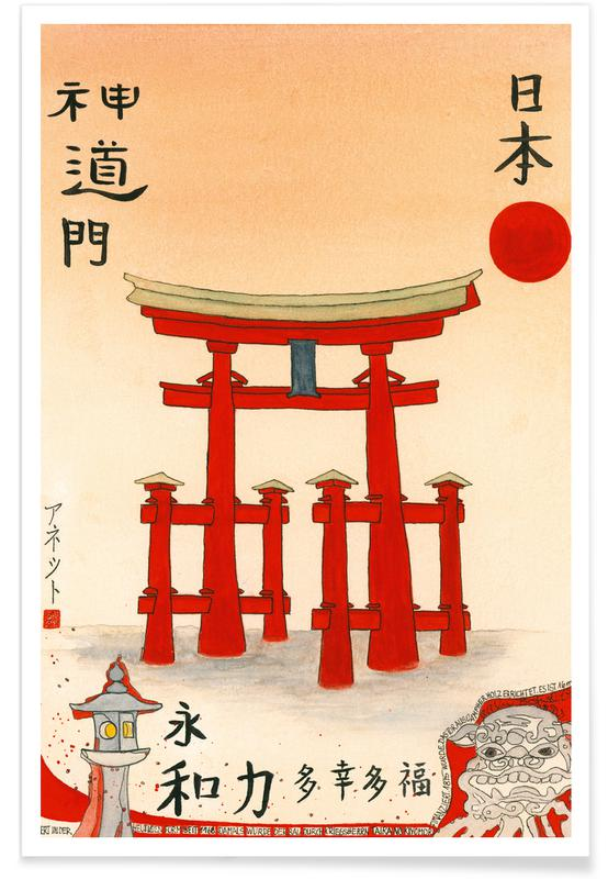 Japanese Inspired, Bartusch-Goger - Torii of an Old Shinto Shrine Poster
